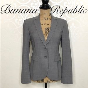 BANANA REPUBLIC SIZE 4P GREY WOOL BLEND BLAZER